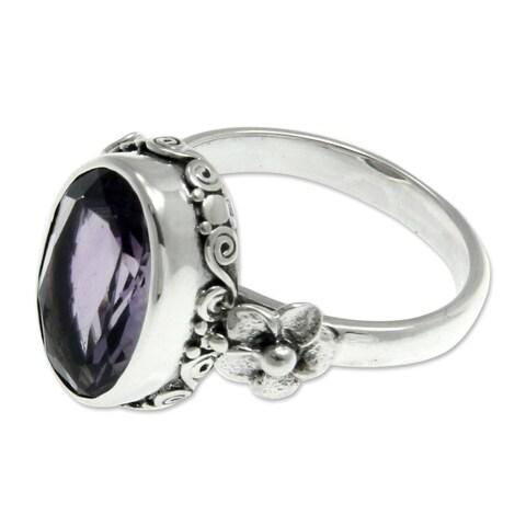 Handmade Sterling Silver 'Frangipani Allure' Amethyst Ring (Indonesia)