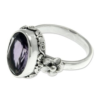 Sterling Silver 'Frangipani Allure' Amethyst Ring (Indonesia)