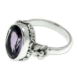 Handmade Sterling Silver 'Frangipani Allure' Amethyst Ring (Indonesia)