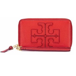 Tory Burch Contrast-Logo Smartphone Red Wristlet