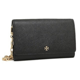 Tory Burch Robinson Chain Black Wallet