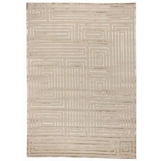 Exquisite Rugs Metro-Velvet Beige New Zealand Wool and Viscose Rug, - 6' x 9'