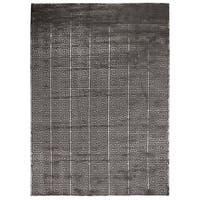 Exquisite Rugs Greek Key Dark Grey New Zealand Wool and Bamboo Silk Rug (6' x 9') - 6' x 9'