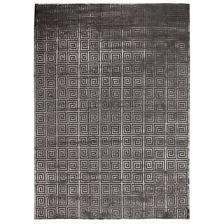 Exquisite Rugs Greek Key Dark Grey New Zealand Wool and Bamboo Silk Rug - 6' x 9'
