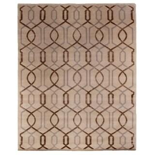 Exquisite Rugs Tibetan-weave Ivory Wool/Art Silk Rug (6' x 9')