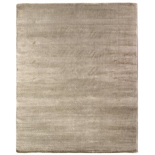 Exquisite Rugs Herringbone Light Beige Viscose Rug (6' x 9')