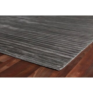 Exquisite Rugs Dark Grey Viscose High Low Rug (6' x 9')
