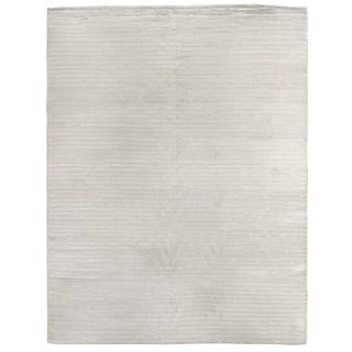 Exquisite Rugs High Low White Viscose Rug (6' x 9') - 6' x 9'