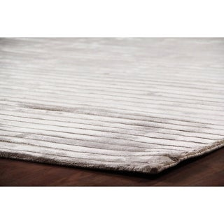 Exquisite Rugs High Low Light Beige Viscose Rug (6' x 9')