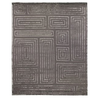 Exquisite Rugs Metro Velvet Dark Grey New Zealand Wool and Viscose Rug (6' x 9')