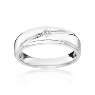 SummerRose Men's 14k White Gold 1/8-carat TDW Diamond Ring