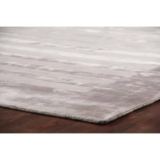 Exquisite Rugs Wide Stripe Silver Viscose Rug (6' x 9')
