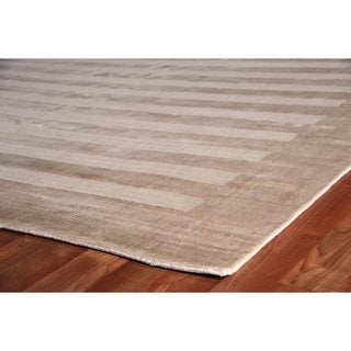 Exquisite Rugs Wide Stripe Light Beige Viscose Rug (6' x 9')