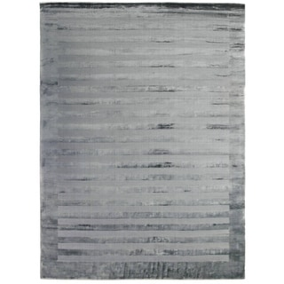 Exquisite Rugs Wide Stripe Grey Blue Viscose Rug (6' x 9')