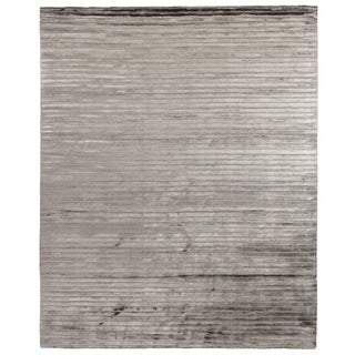 Exquisite Rugs High Low Dark Gray Viscose Rug (4' x 6')