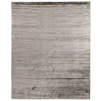 Exquisite Rugs High Low Dark Gray Viscose Rug (4' x 6') - 4' x 6'