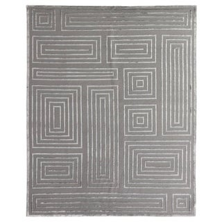 Exquisite Rugs Metro Velvet Silver New Zealand Wool and Viscose Rug (4' x 6')