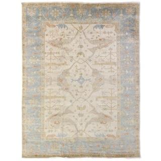 Exquisite Rugs Oushak Ivory/Blue Wool Turkish New Zealand Rug (4' x 6')