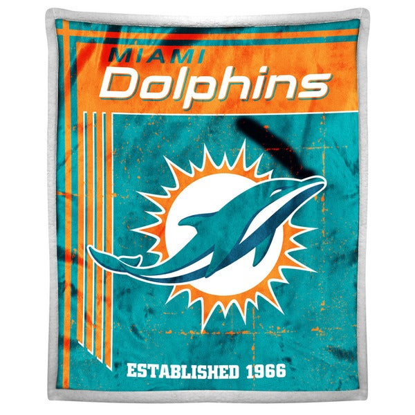 NFL 192 Dolphins Mink Sherpa Throw