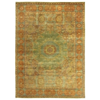Exquisite Rugs Tabriz Green/Blue New Zealand Wool Hand-knotted Rug (4' x 6')