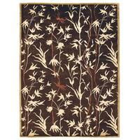 Exquisite Rugs Milano Chocolate / Beige New Zealand Wool and Silk Rug - 4' x 6'