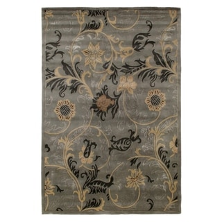 Exquisite Rugs Milano Blue Wool Hand-knotted Rug (4' x 6')