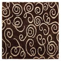 Exquisite Rugs Metropolitan Chocolate / Light Blue New Zealand Wool Rug - 4' x 6'
