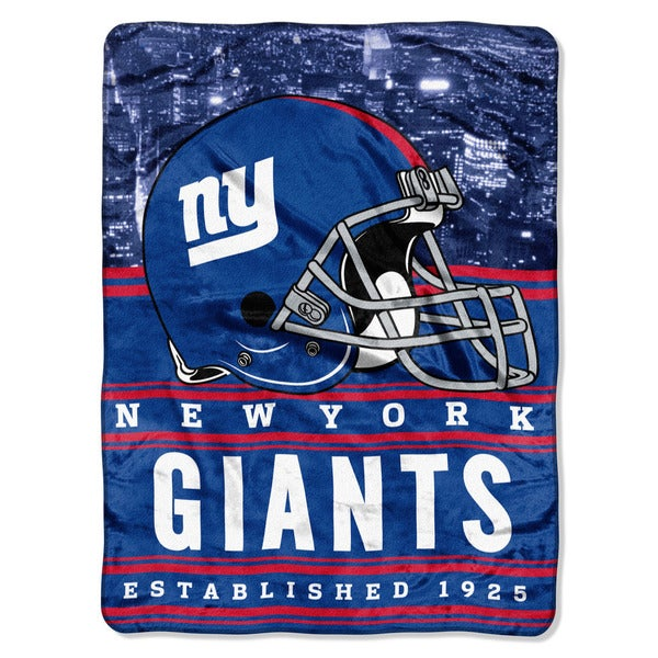NFL 071 NY Giants Stacked Silk Touch Raschel Throw