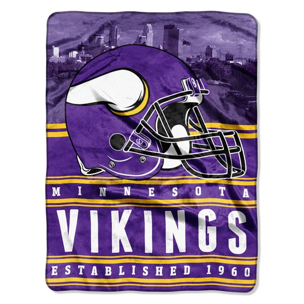 NFL 071 Vikings Stacked Silk Touch Raschel Throw