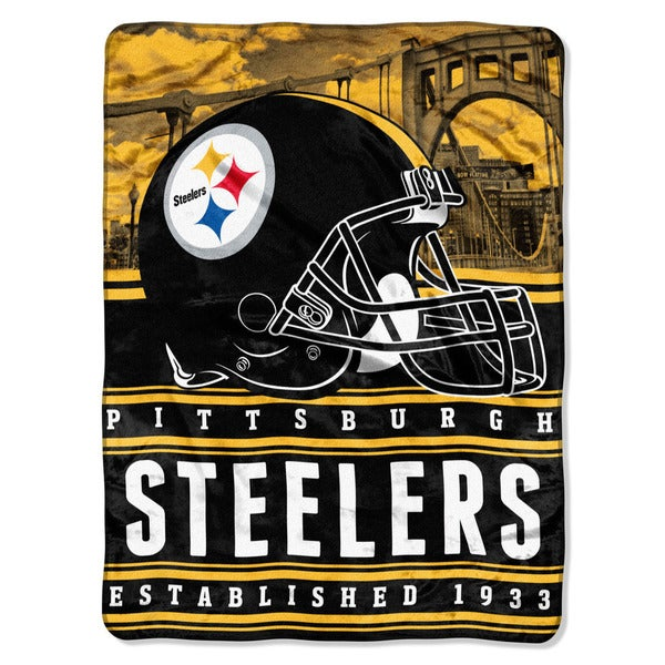 NFL 071 Steelers Stacked Silk Touch Raschel Throw