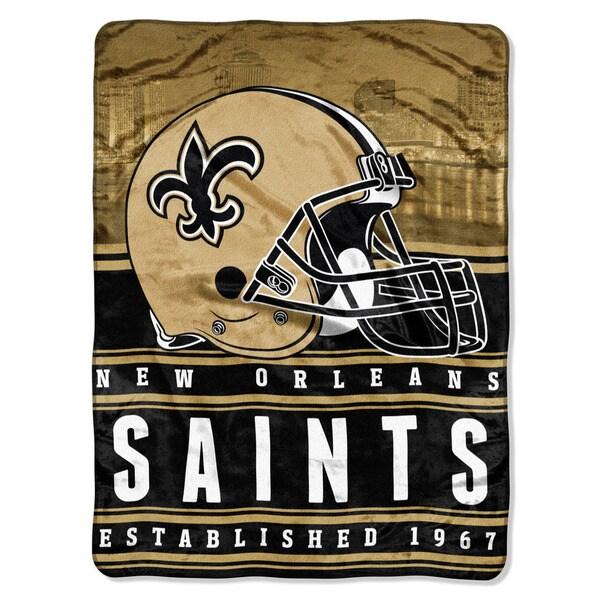 NFL 071 Saints Stacked Silk Touch Raschel Throw