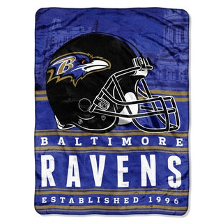 NFL 071 Ravens Stacked Silk Touch Raschel Throw