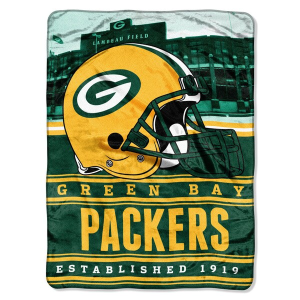NFL 071 Packers Stacked Silk Touch Raschel Throw