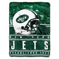 NFL 071 Jets Stacked Silk Touch Raschel Throw