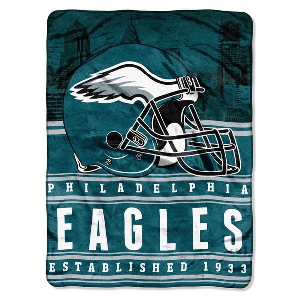 NFL 071 Eagles Stacked Silk Touch Raschel Throw
