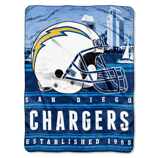 NFL 071 Chargers Stacked Silk Touch Raschel Throw