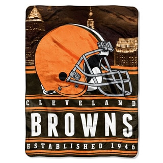 NFL 071 Browns Stacked Silk Touch Raschel Throw