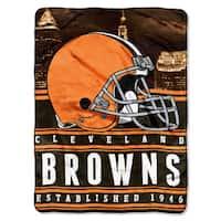 NFL 071 Browns Stacked Silk Touch Raschel Throw
