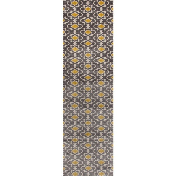 Moroccan Trellis Contemporary Grey Yellow Polypropylene