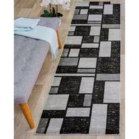 Contemporary Modern Boxes Design Grey Polypropylene Indoor Area Rug Runner - 2' x 7'2""