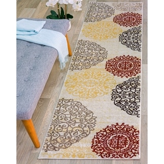 Cream Floral Transitional Indoor Runner Rug (2' x 7'2)
