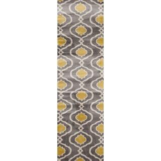 Grey/Yellow Moroccan Trellis Modern Indoor Runner Rug (2' x 7'2)