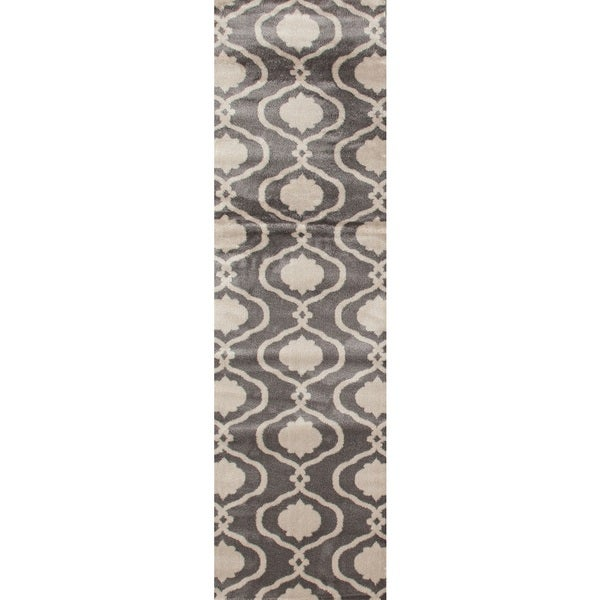 Moroccan Trellis Modern Gray Area Rug Runner (2' X 7' 2