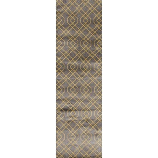 Grey/Yellow Modern Trellis Area Rug (2' x 7'2)