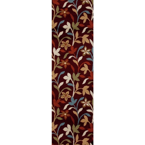 Cream Contemporary Leaves Modern Runner Rug - 2' x 7'2
