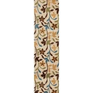 Cream Contemporary Leaves Modern Runner Rug (2' x 7'2)