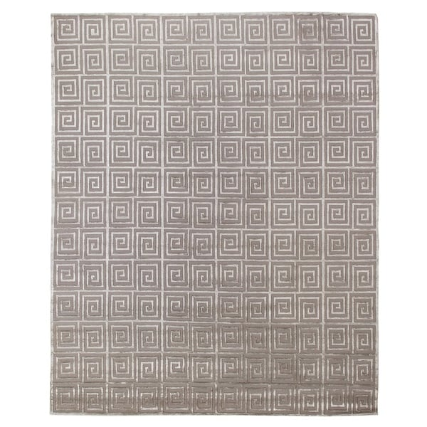 Exquisite Rugs Greek Key Silver New Zealand Wool And Silk Rug