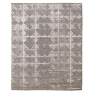 Exquisite Rugs Greek Key Silver New Zealand Wool and Silk Rug (4' x 6')