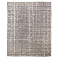 Exquisite Rugs Greek Key Silver New Zealand Wool and Silk Rug - 4' x 6'