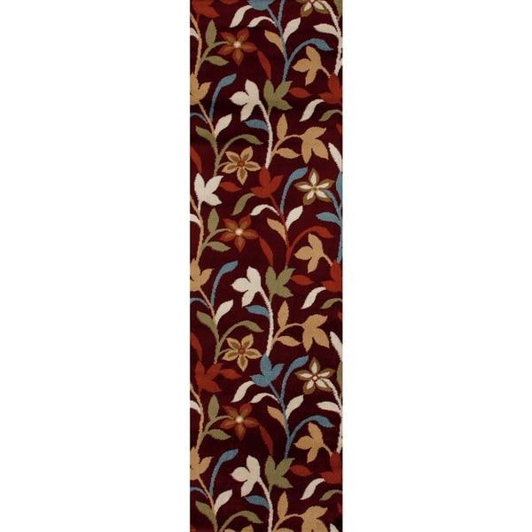 Modern Leaves Rug: Modern Contemporary Leaves Design Burgundy Area Runner Rug